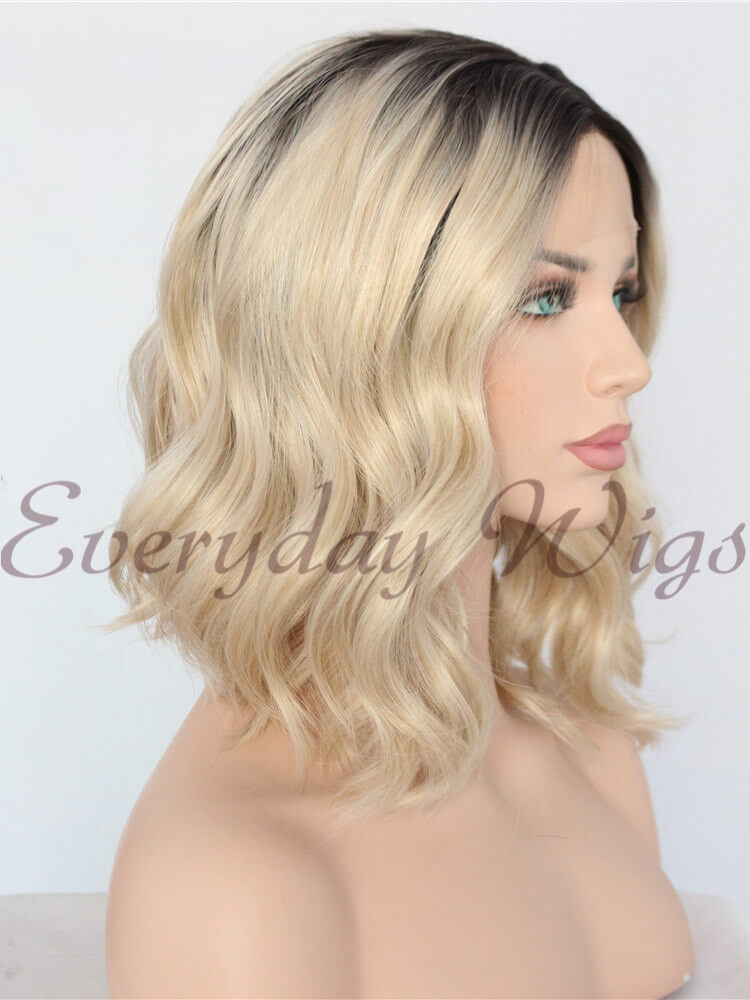 Ombre Blonde Short Bob Wavy Synthetic Wigs