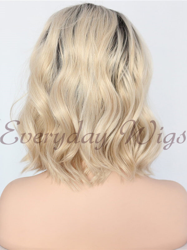 Ombre Blonde short bob wavy Synthetic Wigs - edw1131