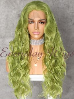 "26"" Green Wavy Synthetic Lace Wigs - edw1132"
