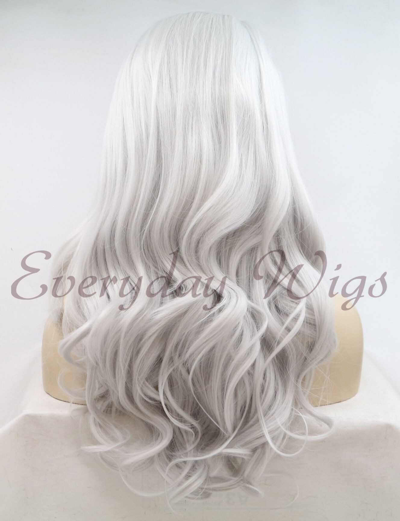 "24"" Light grey Long Wavy Synthetic Lace Front Wig - edw1134"