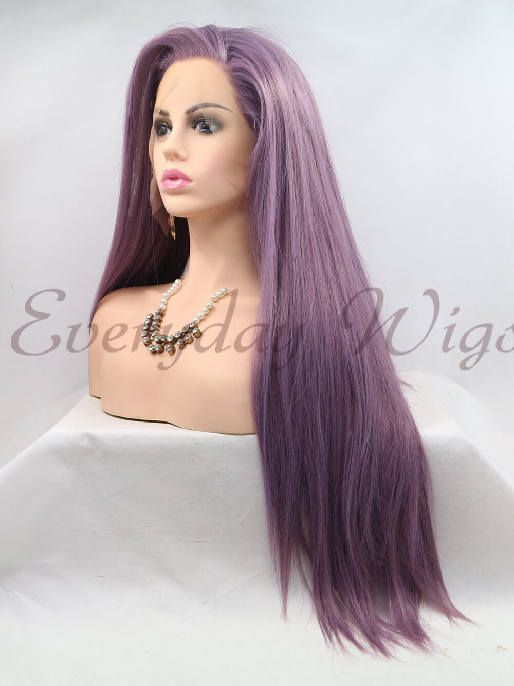 "26"" Long Purple Straight Synthetic Lace Front Wig-edw1137"