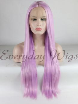 "26"" Long Lavender Synthetic Lace Front Wig-edw1138"