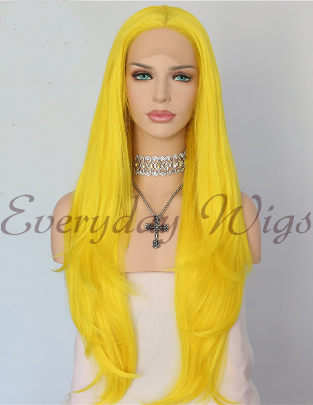 "24"" Yellow Synthetic Lace Front Wig-edw1139 - Click Image to Close"
