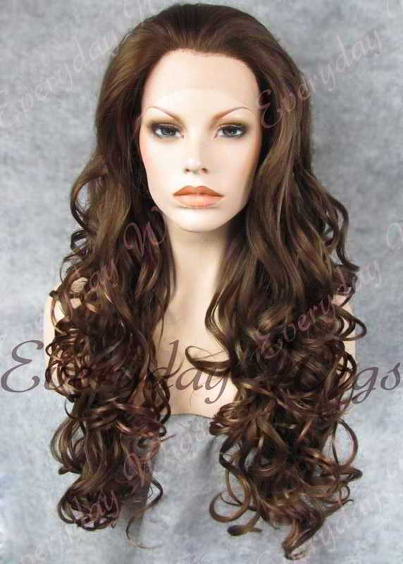 "24"" #3-Medium Dark Brown Long Wavy Synthetic Lace Front Wig - edw114"