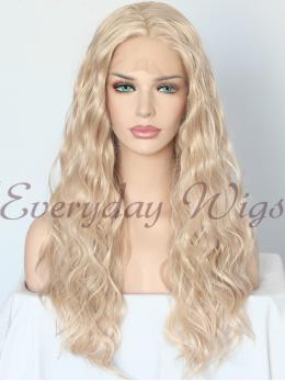 "24"" Blonde Wavy Synthetic Lace Front Wig-edw1140"