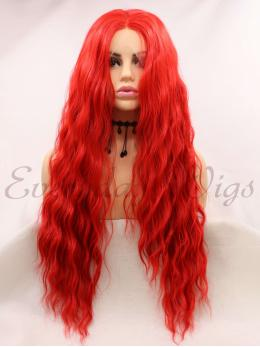 "24"" Ombre Red Long Synthetic Lace Front Wig-edw1141"
