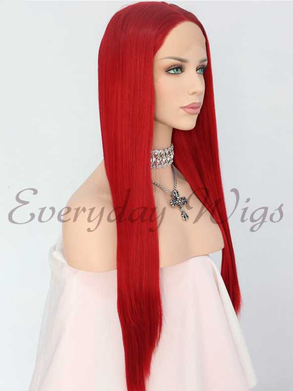 "24"" Long Red Straight Synthetic Lace Front Wig - edw1142"