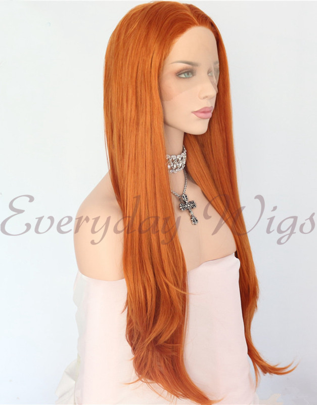 "24"" Orange Synthetic Wavy Lace Front Wig-edw1144"