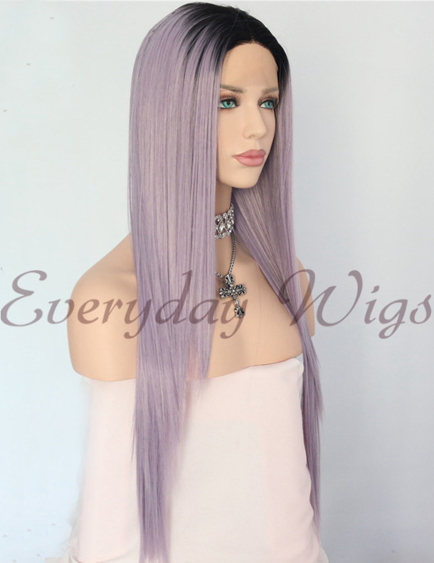"24"" Ombre Light Purple Synthetic Lace Front Wig-edw1145"