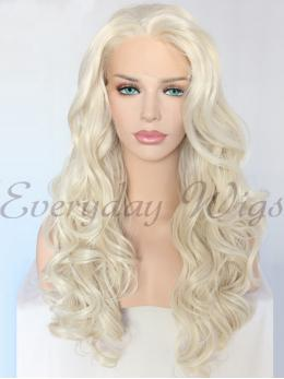 "24"" Blonde Wavy Synthetic Lace Front Wig-edw1146"