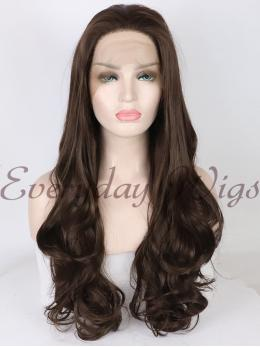 "24"" Brown Long wavy Synthetic Lace Front Wigs - edw1147"