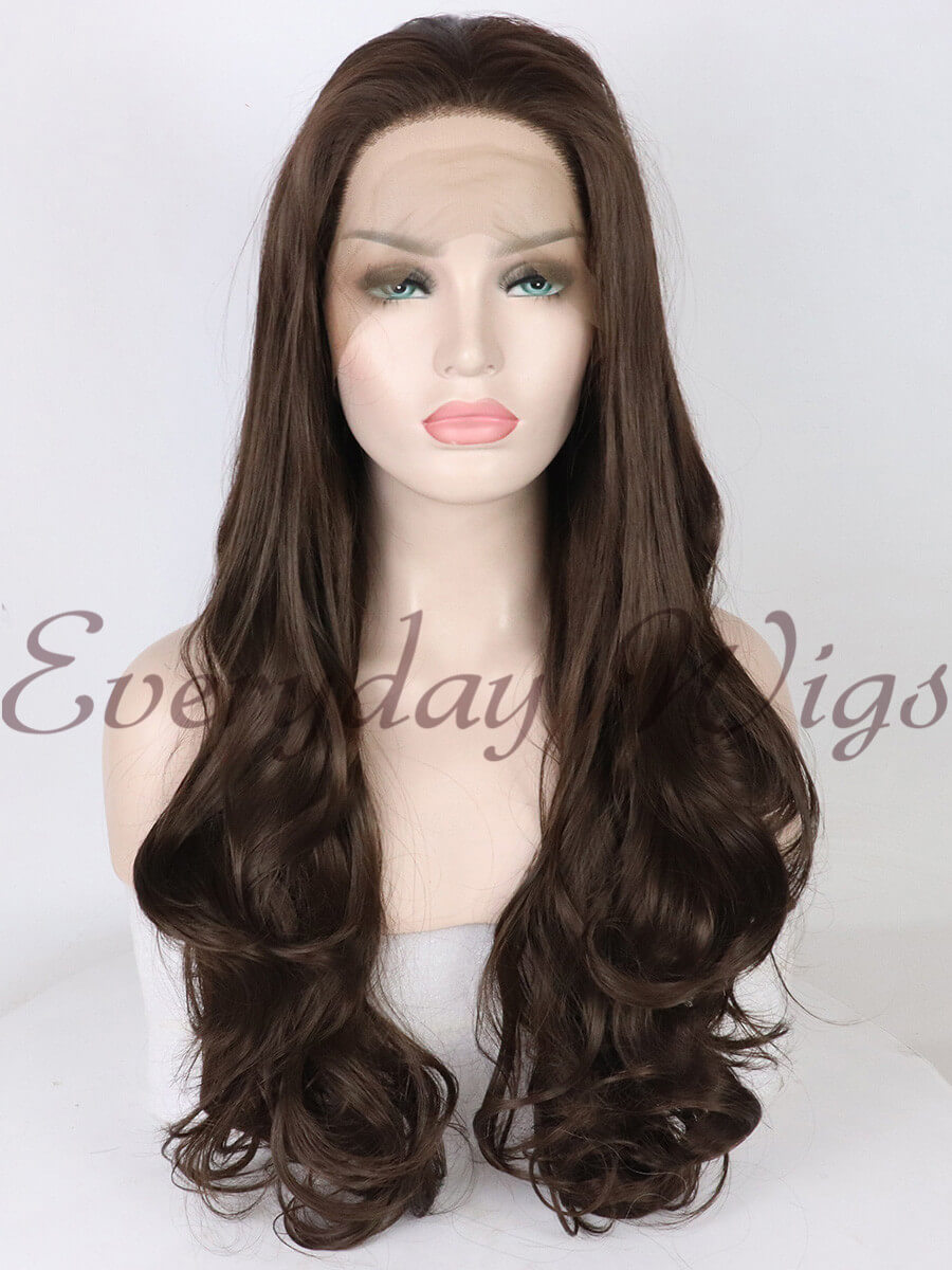 "24"" Dark Brown Long straight Synthetic Lace Front Wigs - edw1147"