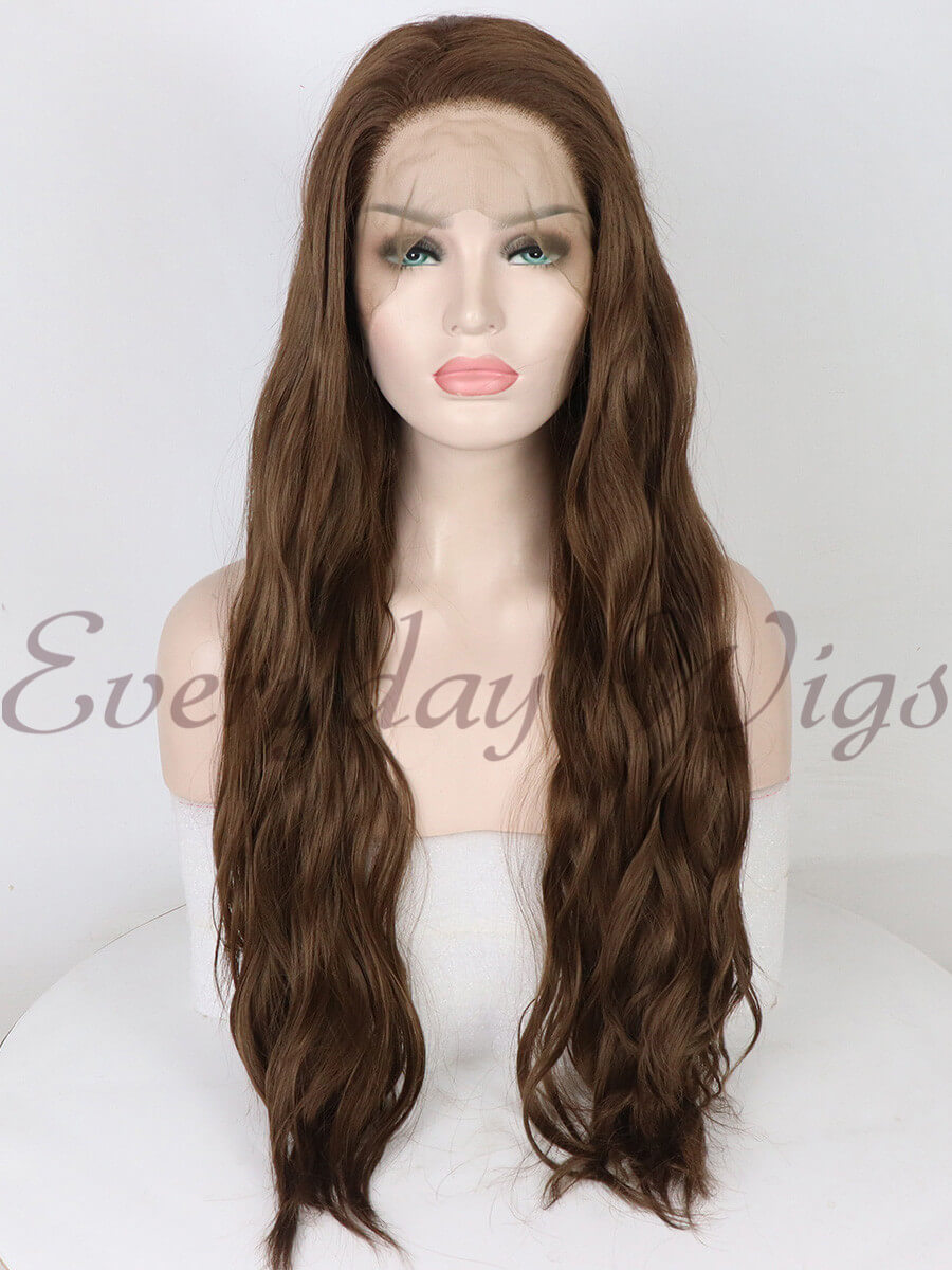 "24"" Brown long Slight Wavy Synthetic Lace Front Wig- edw1148"