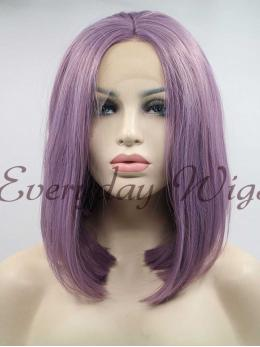 "14"" Purple short Straight Synthetic Lace Front Wig - edw1149"