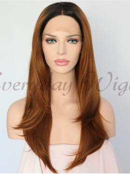 Ombre Brown Synthetic Lace Front Wig-edw1150