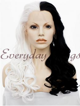 "24"" Half Black Half White Synthetic Lace Front Wig- edw1151"