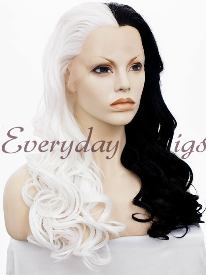 f29202effea 24 Half Black Half White Synthetic Lace Front Wig- edw1151