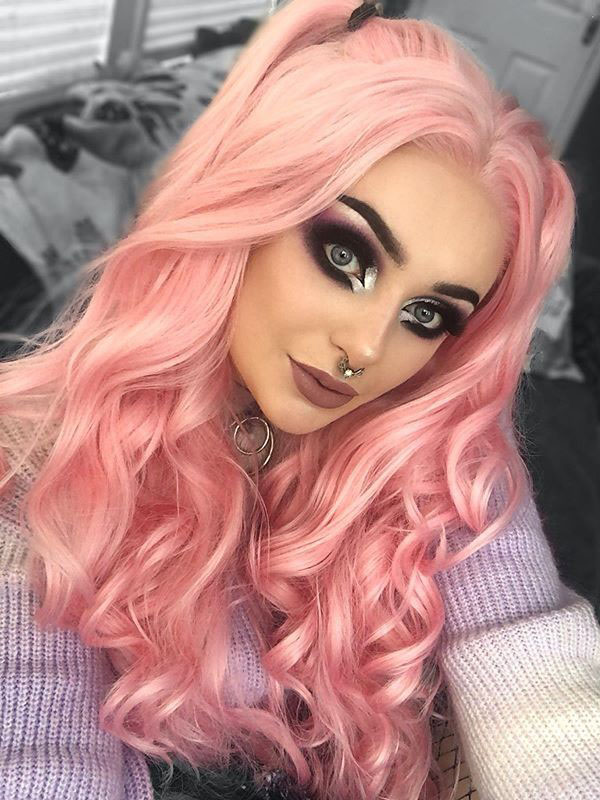 "24"" Pink Slight Wavy Synthetic Lace Front Wig - edw1152"