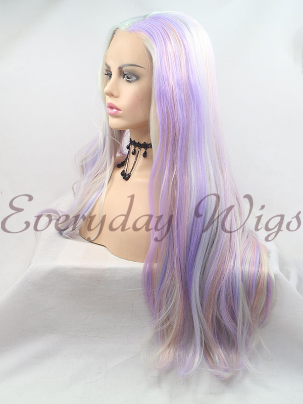 "14"" Purple Short bob Synthetic Lace Front Wig- edw1153"