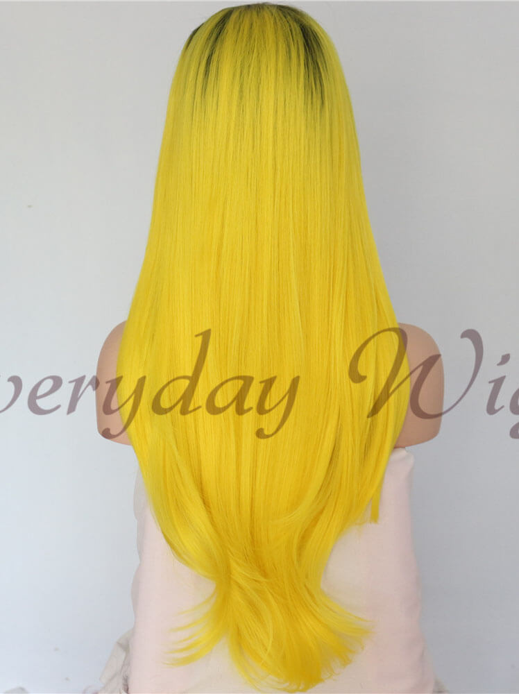 "24"" Ombre Yellow Synthetic Lace Front Wig - edw1154"