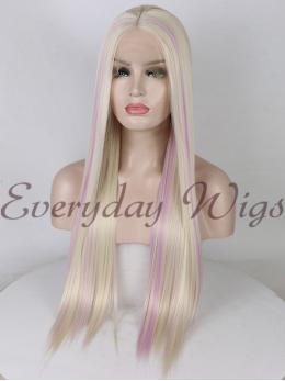 "26"" Long Blonde Highlight Lavender Synthetic Wigs- edw1155"