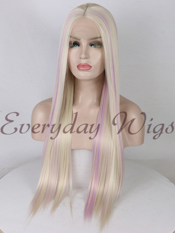 "26"" Long Blonde Highlight Lavender Synthetic Wigs- edw1155 - Click Image to Close"