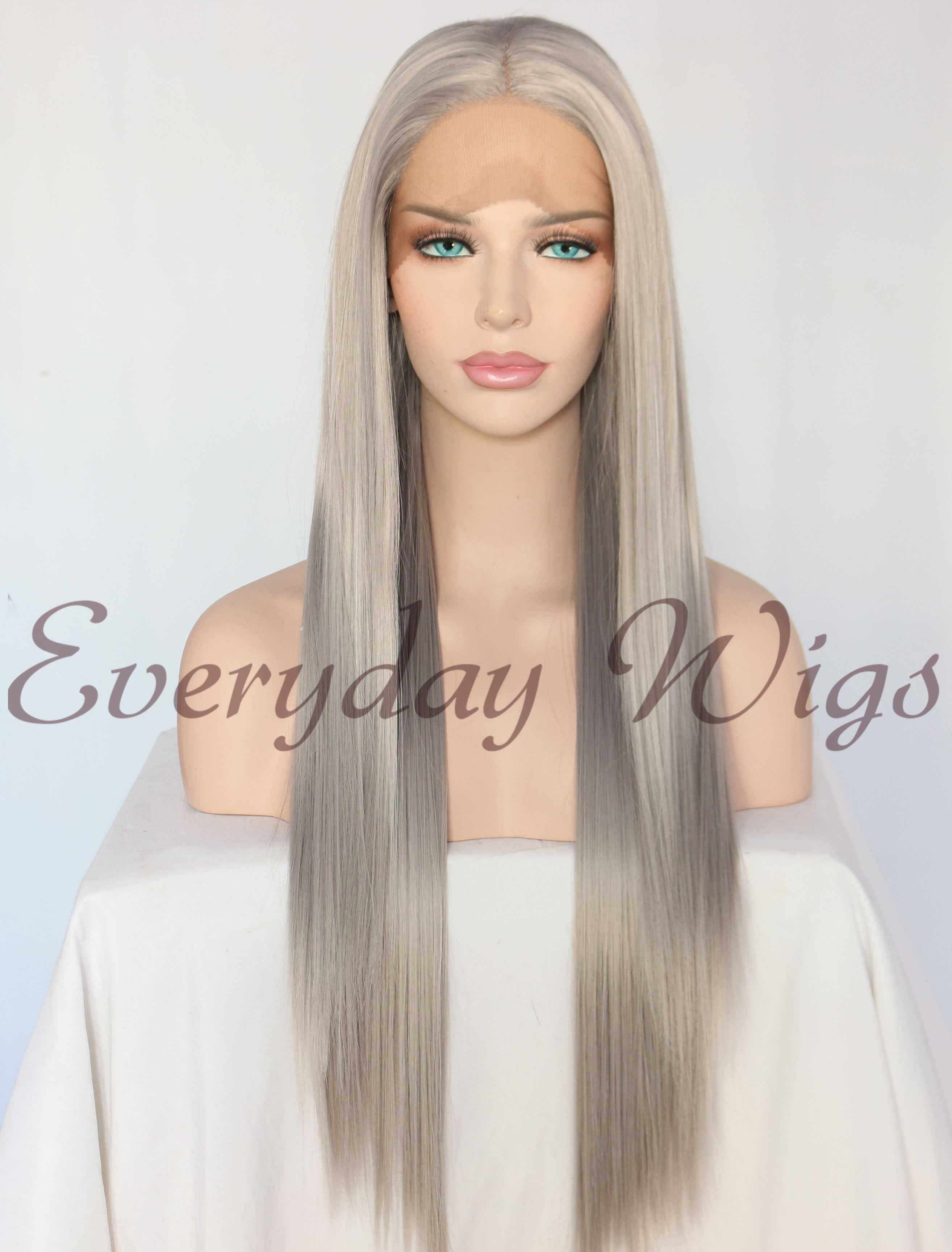 "24"" Long Silver Synthetic Lace Front Wigs- edw1157"