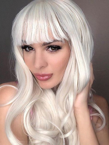 "24"" Long Blonde Synthetic Lace Front Wig with bangs - edw1158 - Click Image to Close"