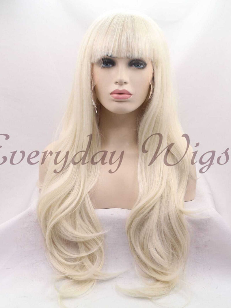 "24"" Long Blonde Synthetic Lace Front Wig with Bangs - edw1158"