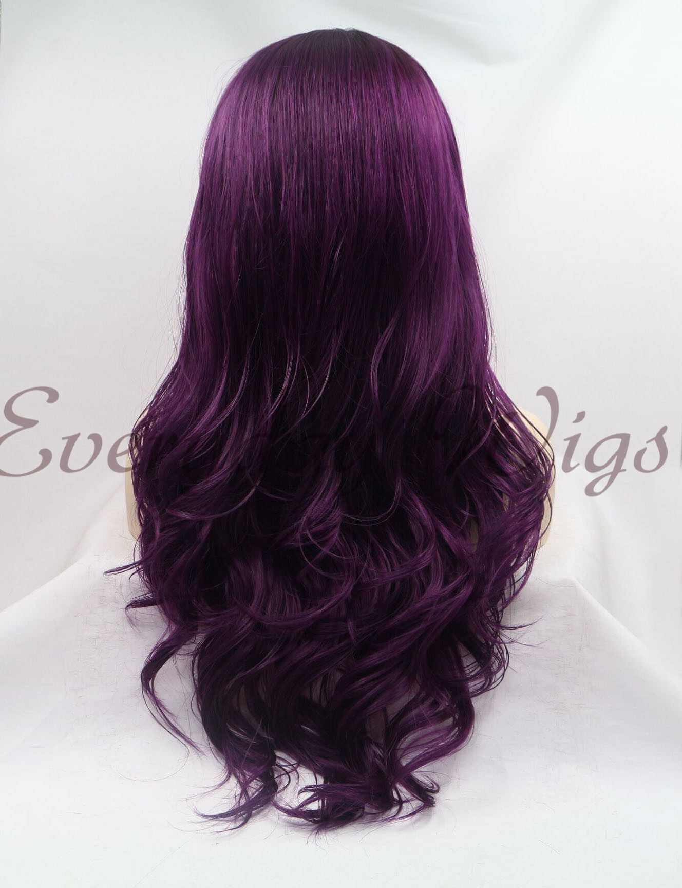 "24"" purple Long Synthetic Lace Front Wig with bangs - edw1159"