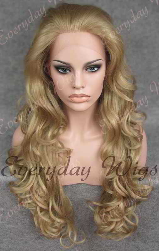 "24"" Long Wavy Synthetic Lace Front Wig - edw116"