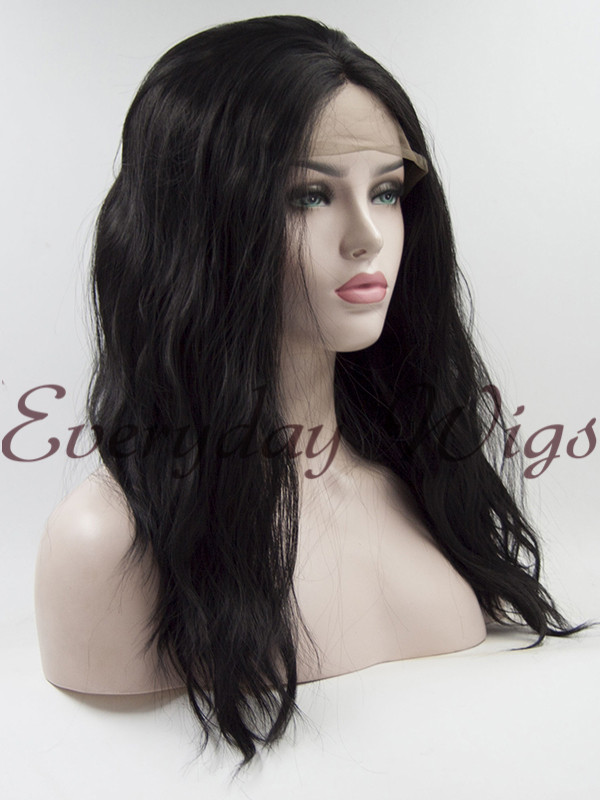 "18"" Black wavy Synthetic Lace Front Wig - edw1162"