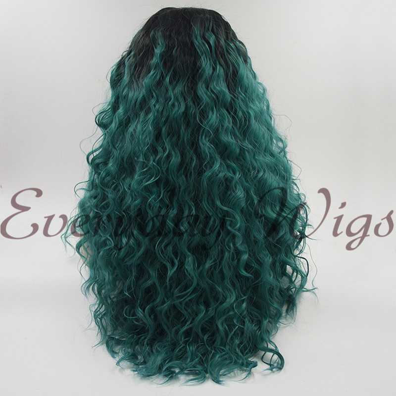 "24"" Ombre Green Long Wavy Synthetic Lace Front Wig -edw1164"