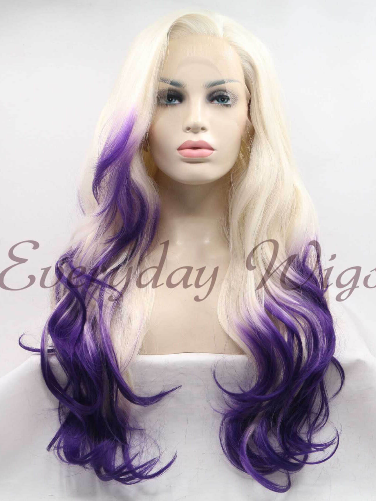 "24"" Ombre Long Wavy Synthetic Lace Front Wig - edw1165"