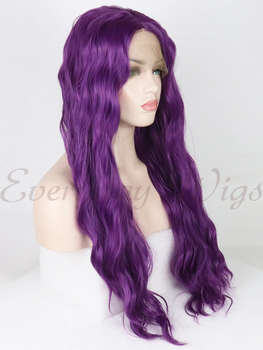 "24"" ombre light purple wavy Synthetic Lace Front Wig-edw1166"