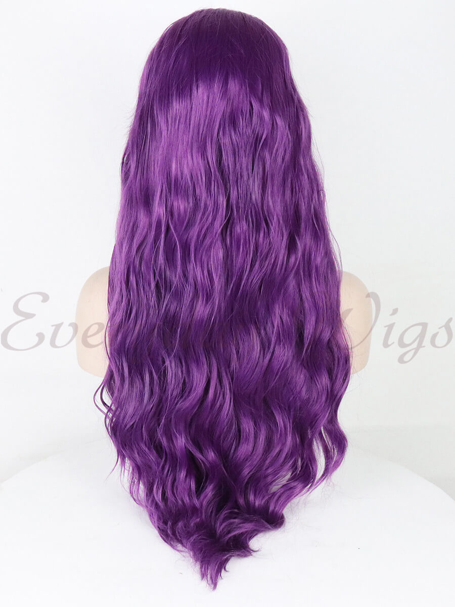 "24"" purple Slight wavy Synthetic Lace Front Wig-edw1166"