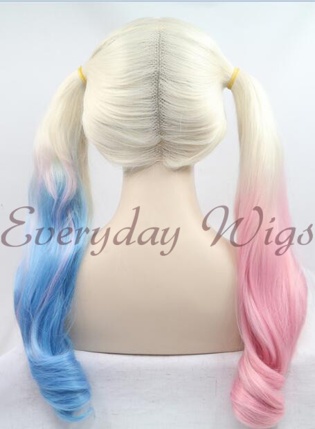 "24"" Harley Quinn Half pink half Blue Synthetic Lace Front Wig - edw1167"