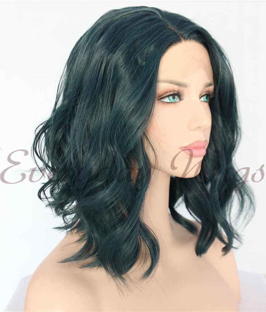 "14"" # Dark Green Wavy Synthetic Lace Front Wig - edw1169"