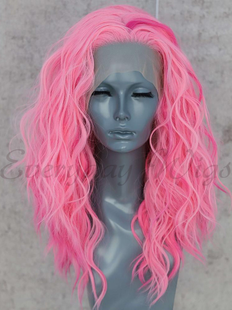 "16"" Pink Wavy Synthetic Lace Front Wig - edw1170"