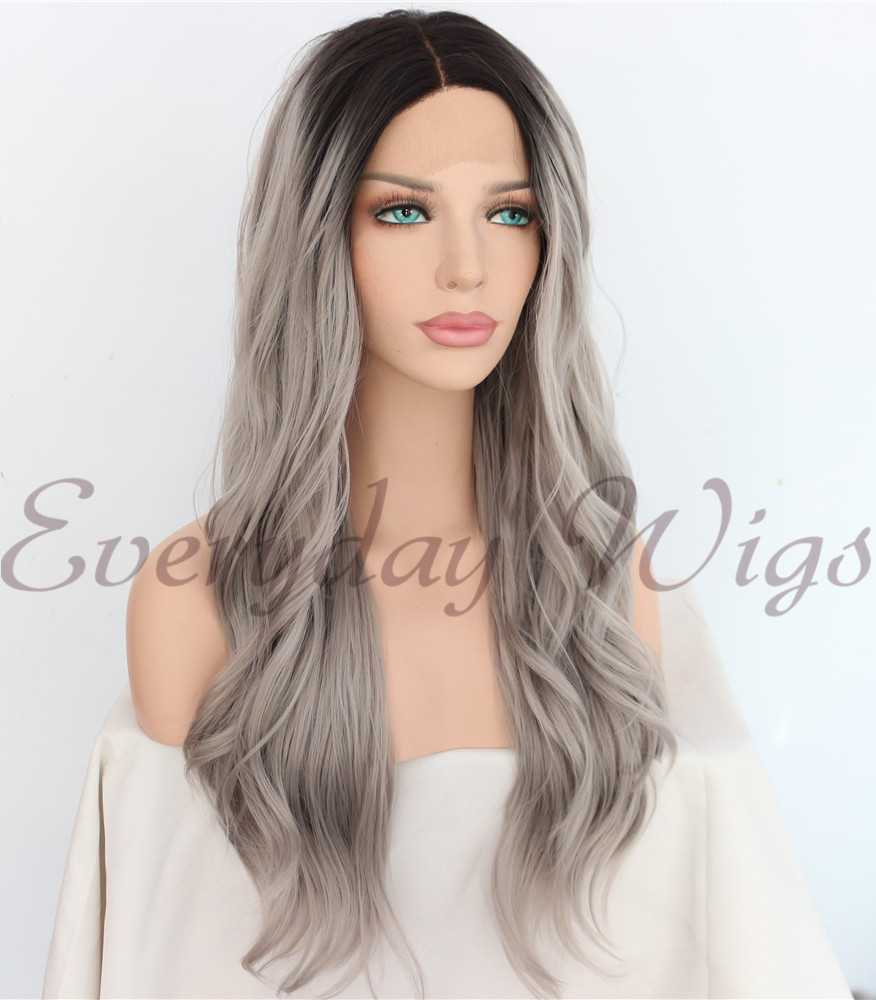 "24"" Ombre Grey Long Wavy Synthetic Lace Wigs - edw1171"