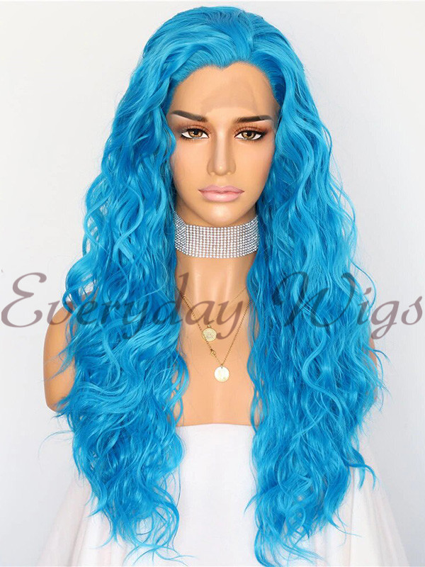 "24"" Blue Wavy Synthetic Lace Front Wig - edw1172"