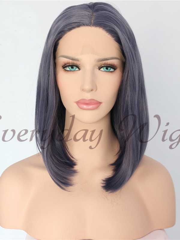 "14"" Short Bob Purple Grey Purple Synthetic Lace Front Wig - edw1173"