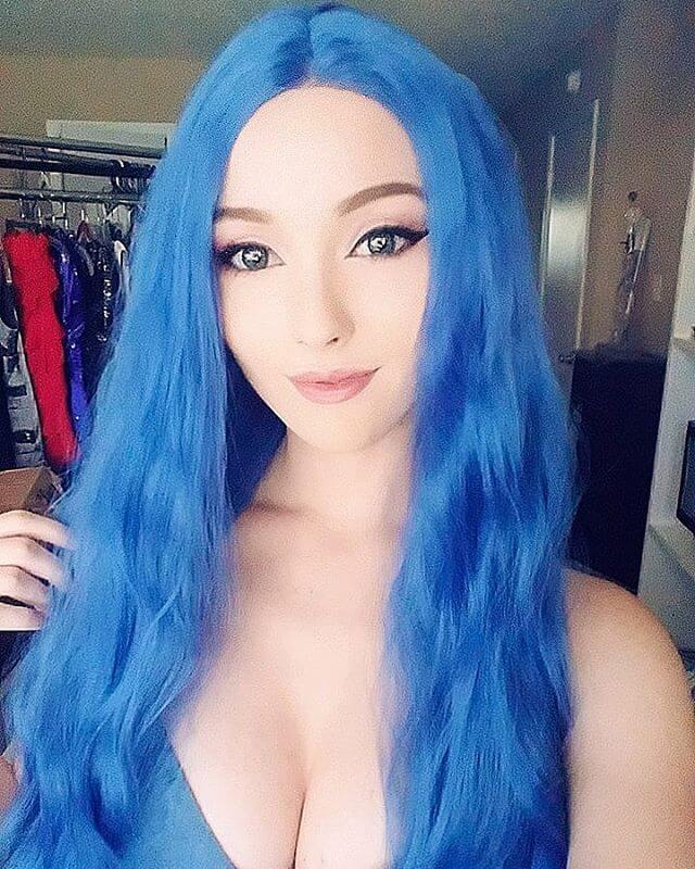 "24"" Blue Slight Wavy Synthetic Lace Front Wig -edw1174"