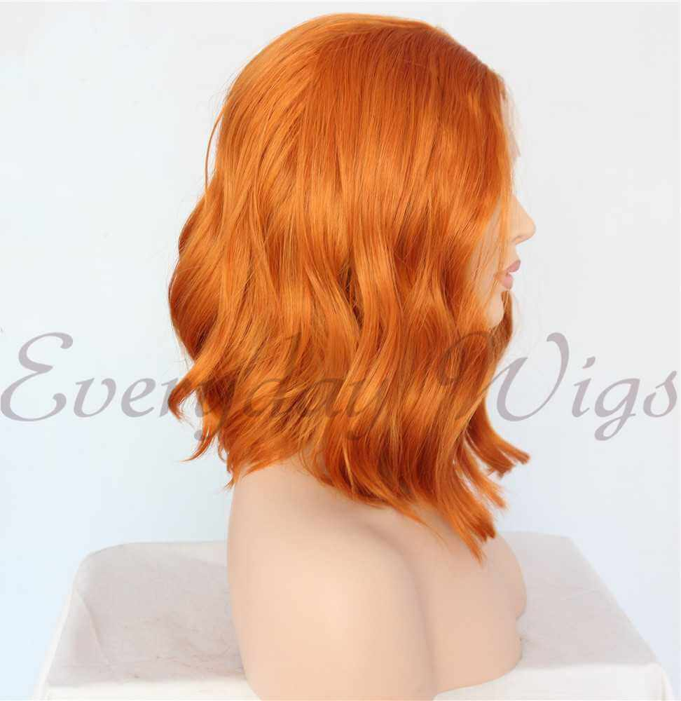 "14"" Short Wave Orange Synthetic Lace Front Wig - edw1175"