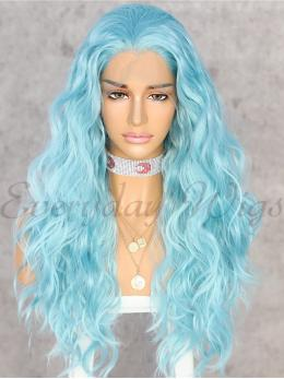 "24"" Light Blue Long wavy Synthetic Lace Wigs - edw1177"