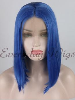 "14"" Short Blue Synthetic Lace Front Wig- edw1178"