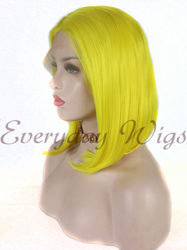 "16"" Yellow Synthetic Lace Front Wig- edw1179"