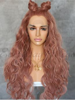 "24"" Reddish Brown Wavy Synthetic Lace Front Wig- edw1180"