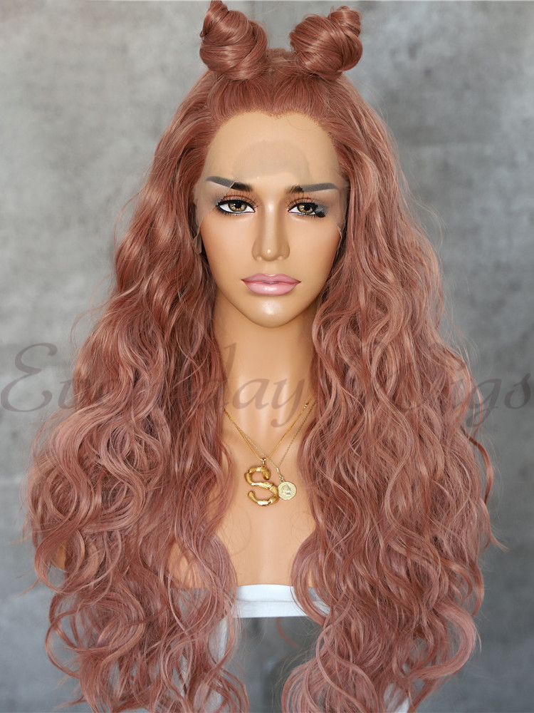 "24"" Ombre Grey Long Curly Synthetic Lace Front Wig- edw1180"
