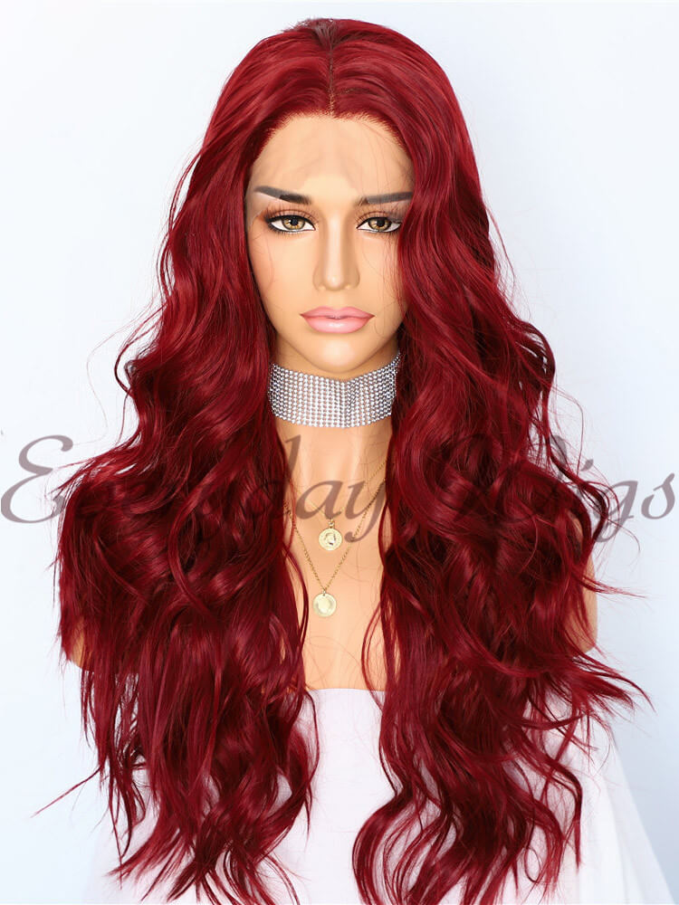 "24"" Red Wavy Long Synthetic Lace Front Wig - edw1181"